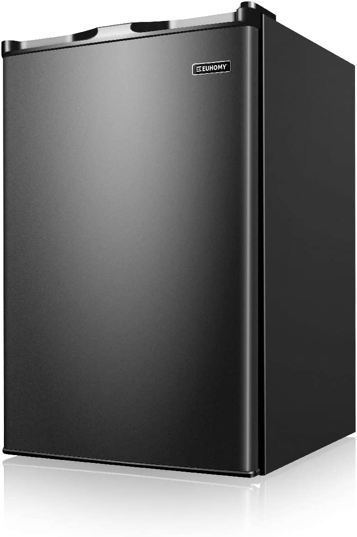 Euhomy Upright Freezer, Energy Star 3.0 Cubic Feet,Compact Single Door Freezer with Reversible Stainless Steel Door,Mini Freezer for Home/Dorms/Apartment/Office(Black)