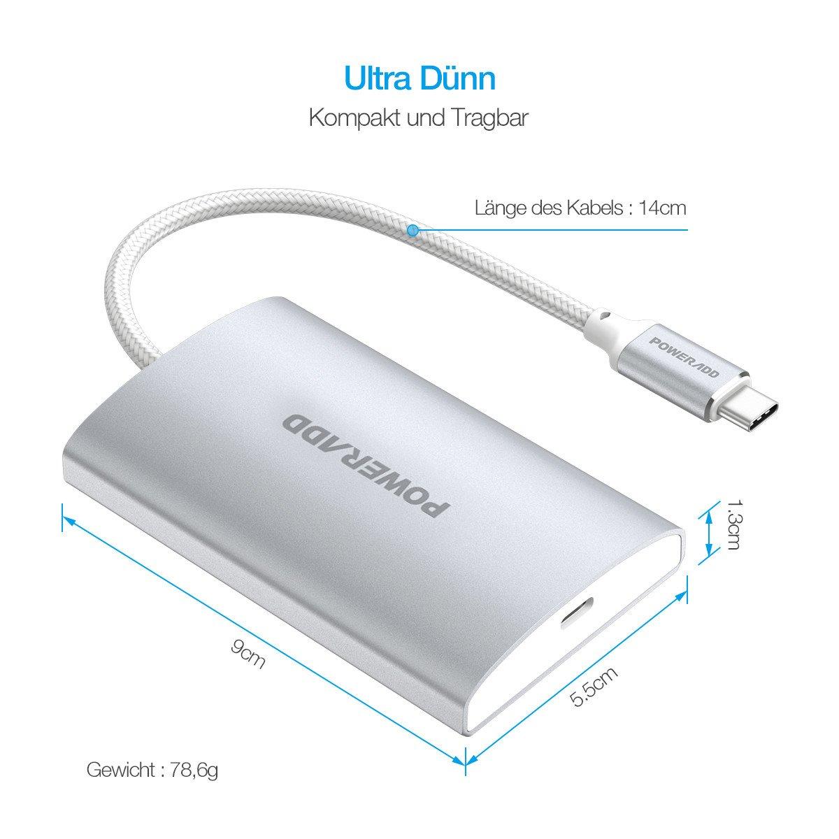 POWERADD Type C Hub USB 3.0 Super Speed Datengeschwindigkeit, für MacBook, Phones, USB Flash Drive,PC (3ports) mit PD
