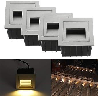 Luz LED para escaleras, Aluminio, 230 V, 3 W, Cristal, lámpara de Pared, luz de Escalera, con Caja empotrada, luz de Escalera, lámpara de Pared, IP65 Resistente al Agua: Amazon.es: Iluminación