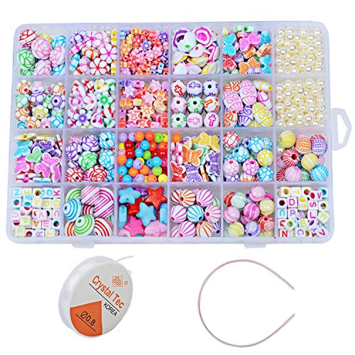 - 550 Pcs Mixed Shapes Multicolor Acrylic Beads with Box for DIY Kids Bracelets/Necklaces