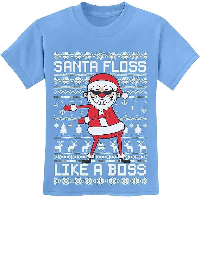 Tstars - Santa Floss Like a Boss Funny Ugly Christmas Sweater Youth Kids T-Shirt GaMPa0hgm