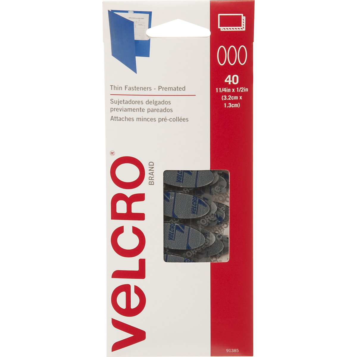 VELCRO Brand - Thin Fasteners - Premated - Ovals, 40 Sets - Black Velcro USA Inc. 91385