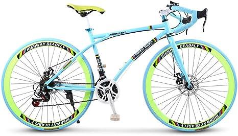 ZTYD Bicicletas Carretera, de 24 velocidades de 26 Pulgadas, Bicicletas de Doble Disco de Freno, Marco de Acero al Carbono de Alta, Camino de la Bicicleta de Carreras: Amazon.es: Deportes y aire