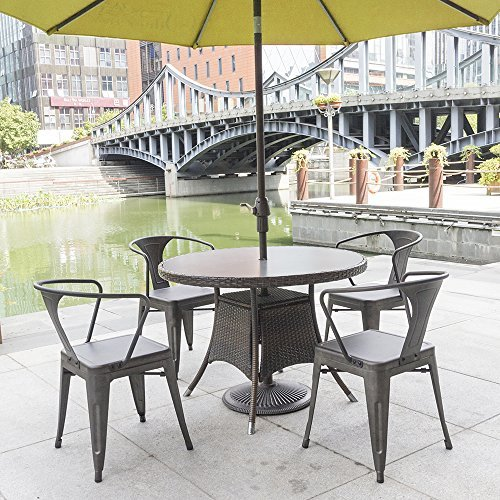 Furmax Metal Dining Chair Tolix Style Indoor Outdoor Use Stackable Chic Dining Bistro Cafe Side Metal Chairs Set of 4(Gun) by Furmax (Image #5)