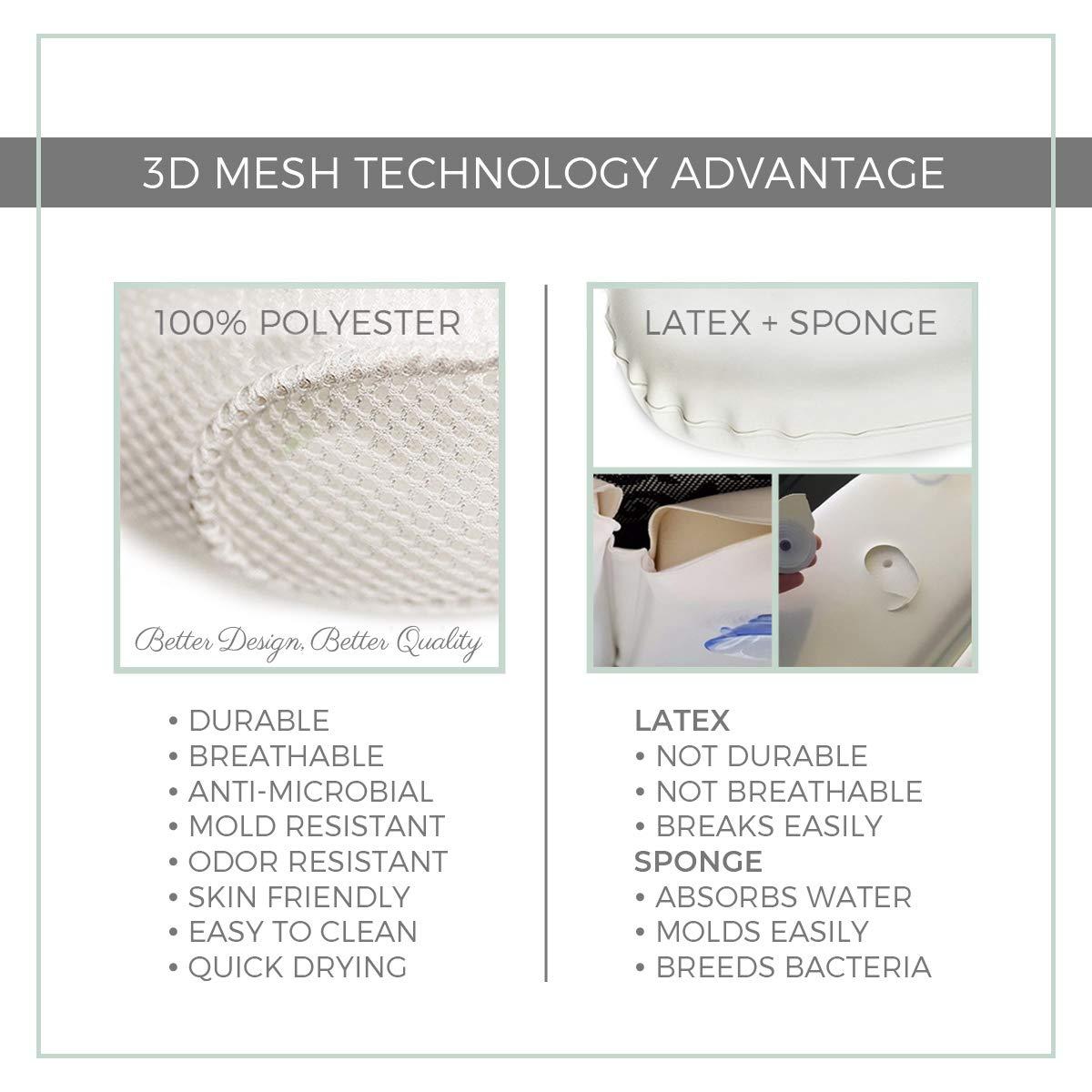Amazon.com: Almohada de baño de malla 3D transpirable con 4 ...