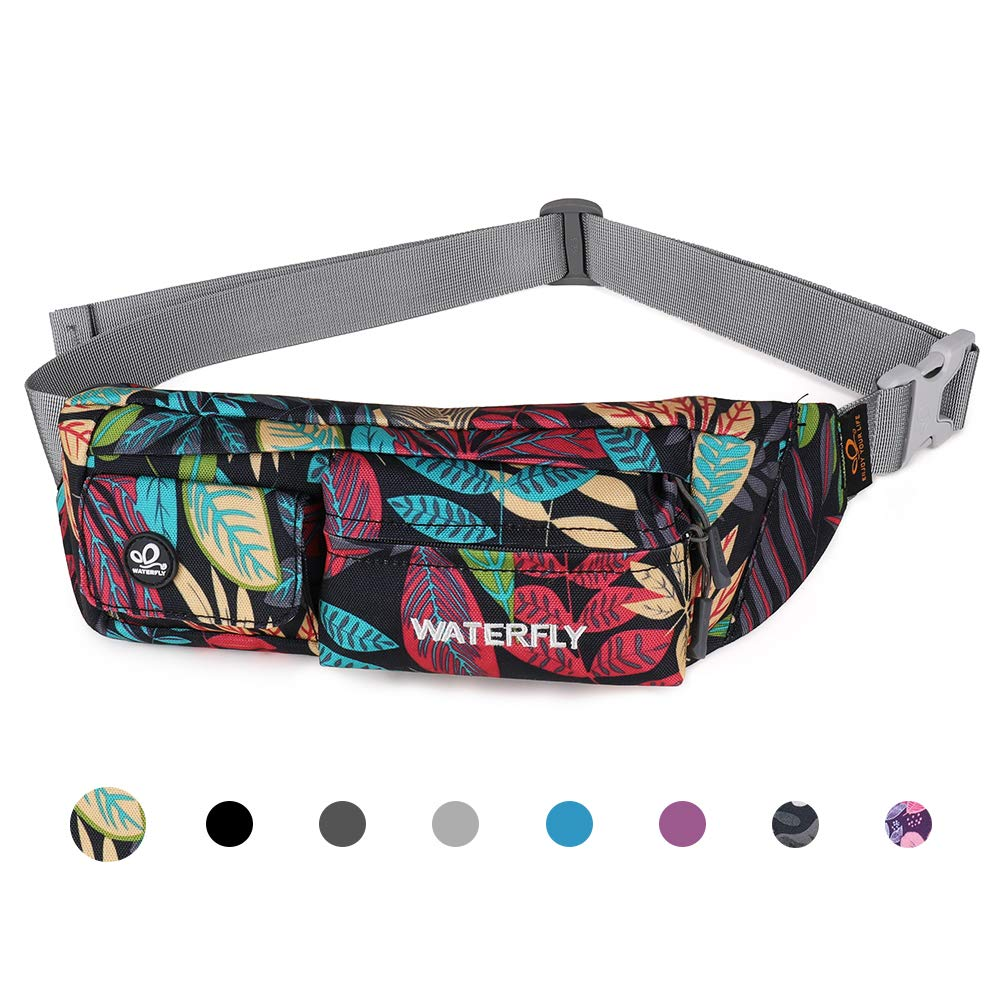 Waterfly Fanny Pack Slim Soft Polyester Water Resistant Waist Bag for Man Women Carrying iPhone Xs / 8 Plus Samsung S10 Plus/Note 8 (Black Leaf) by Waterfly