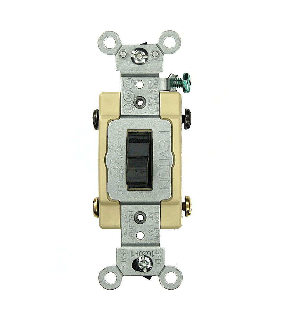 Leviton CS420-2E 20 Amp, 120/277 Volt, Toggle 4-Way AC Quiet Switch, Commercial Grade, Grounding, Black