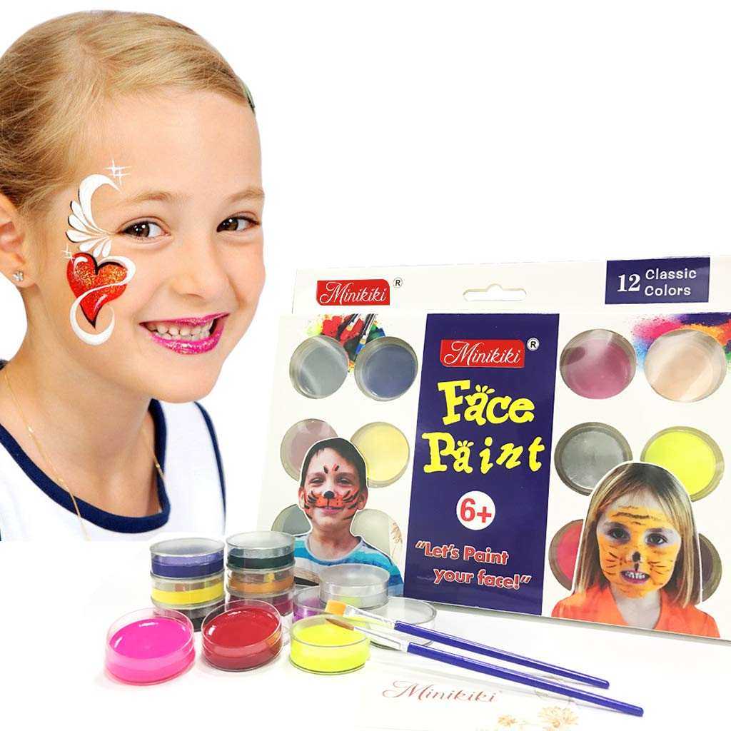 MiniKIKI Face Paint Crayons, Face Painting Kits, 12 Cols, Body Paint, Kids Face Painting, Washable Face Paint, Kids Makeup, Non Toxic Body Painting, Ideal for Halloween, Costumes, Birthday Parties 4336854049