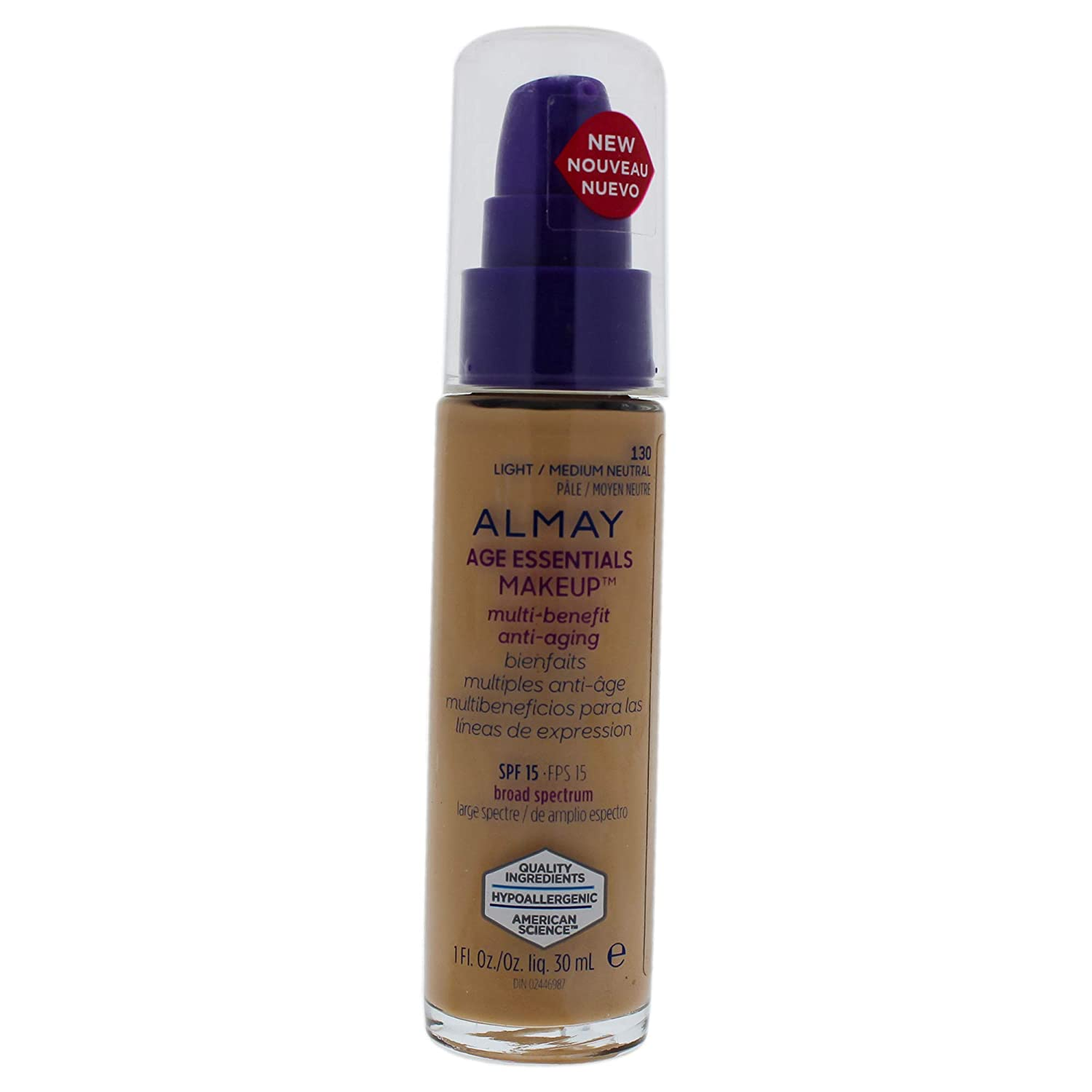 e755fda9c5f Amazon.com : Almay Age Essentials Multi-benefit Anti-aging Makeup - 130  Light-medium Neutral By Almay for Women - 1 Oz Foundation, 1 Oz : Beauty