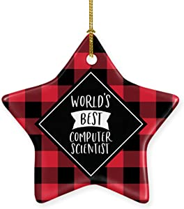 Andaz Press Star Ceramic Porcelain Christmas Tree Ornament Keepsake Gift, World's Best Computer Scientist, Plaid, 1-Pack, Birthday Gift Ideas Coworker Him Her, Includes Gift Box