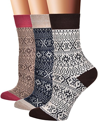 Flora&Fred Women's Cotton Crew Socks, Sock Size 9-11 / Shoe Size 5-9, Fair Isle, 3 Pack