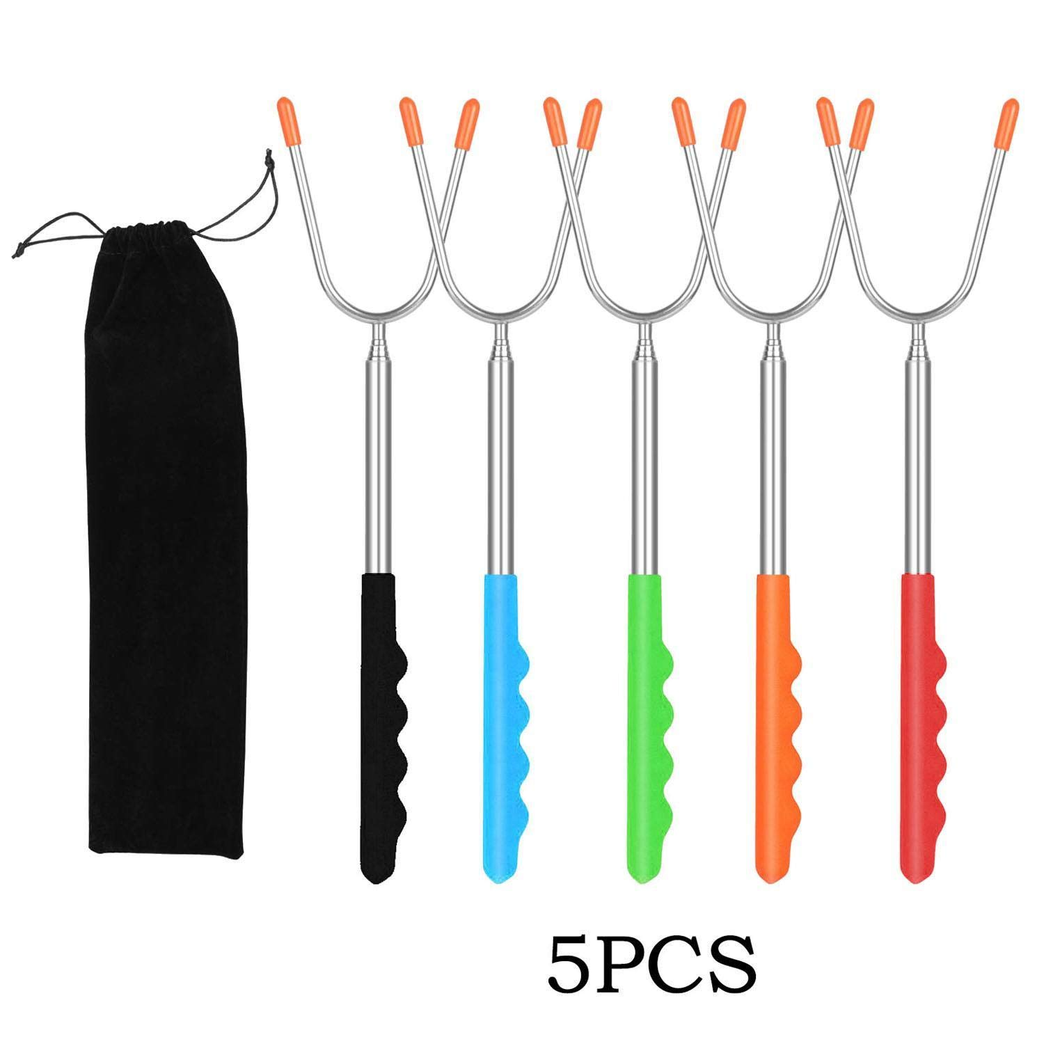 Atmeyol BBQ Telescoping Forks Roasting Sticks Home Travel Barbecue Tool Barbecue Forks