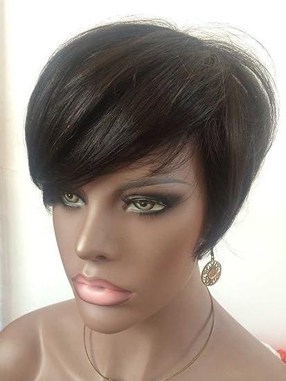 WOB pelo Rihanna estilo ninguno encaje peluca cabello humano 150% densidad tablón negro corto peluca