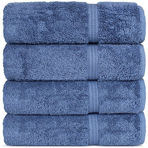 Superior Long-stable Turkish Cotton 4-Piece Bath Towels, Eco-Friendly, (Wedgewood)