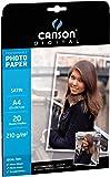 Canson Digital Performance Papier Photo Satiné 210 g A4 Blanc - 20 Feuilles
