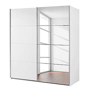 AVANTI TRENDSTORE - Rubito - Armadio con ante scorrevoli e con un' anta specchiata. Molto spazioso in laminato colore bianco. Dimensioni: LAP 181x197x61cm