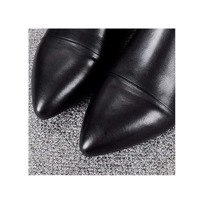 Kokqsx-signore Gli Stivali Di Cuoio Nero Le Scarpe Chelsea Boots