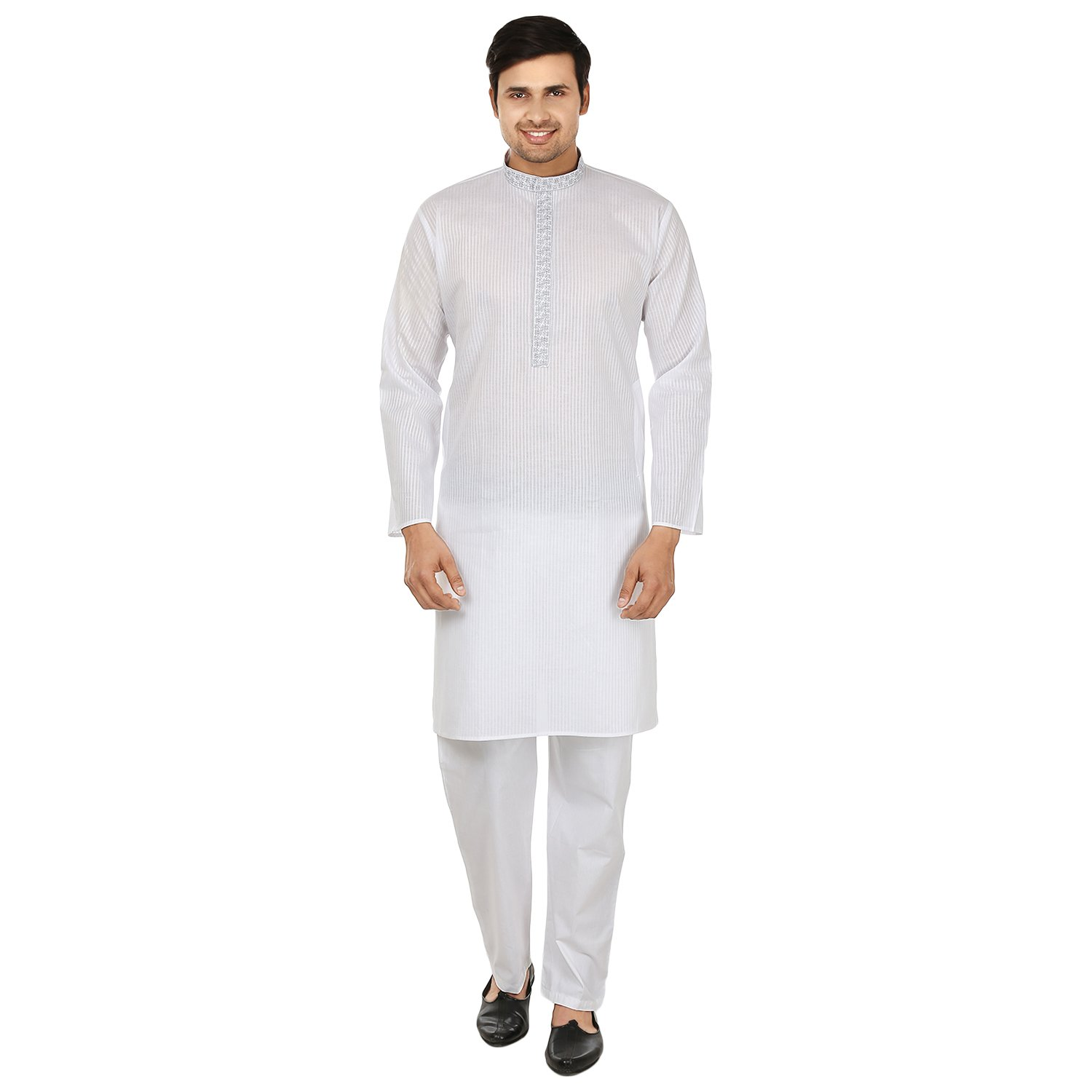 Maple Clothing Mens Kurta Pajama Cotton Embroidered Indian Apparel kp-doriaembp