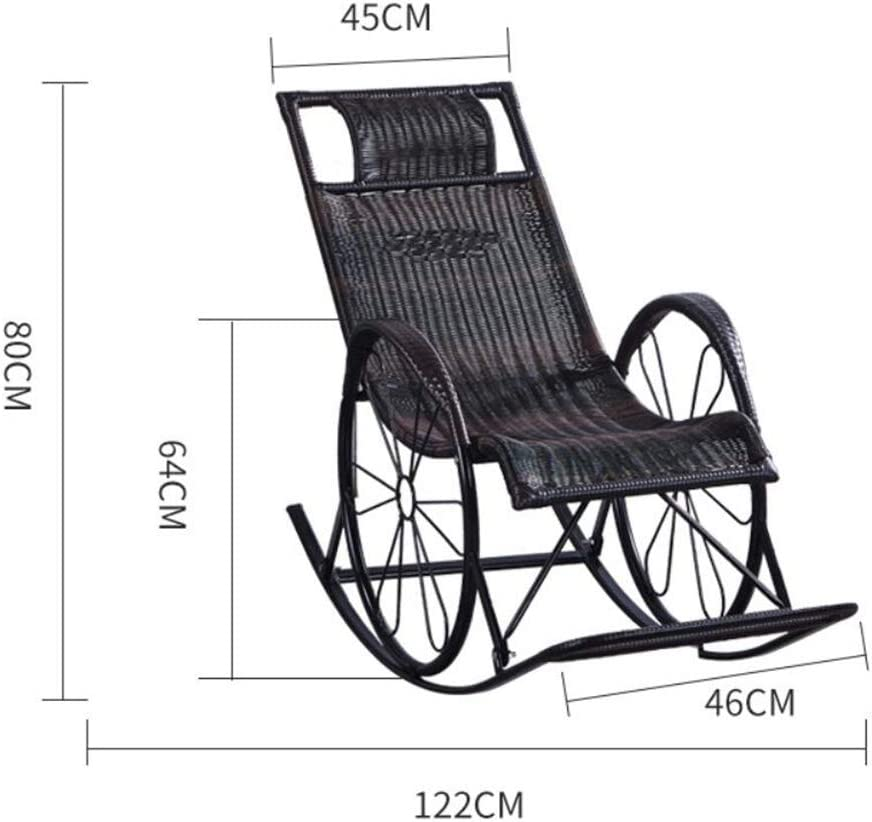FCSFSF Patio Rocking Chair,Relaxing Lounge Chair,Metal Recliner Wicker Chair,Handmade Leisure Chair,Portable Bench Chair for Indoor Outdoor A 46x122x80cm 18x48x31inch