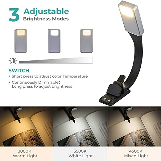 Miazhou Clip Lámpara de Lectura Lámpara Flexible Ajustable ...