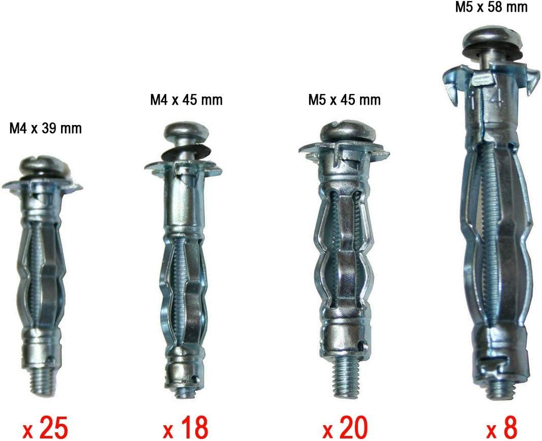 Hohlraumdübelzange u 40 Spreizdübel Metall Dübel M4 u M5 Zange Montagezange