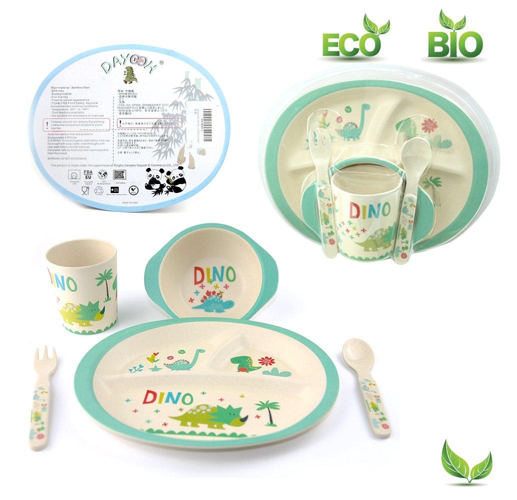 Kids Dinnerware Set of 5 Piece - Bamboo Kids Cups,Kids Plates,Bowl,Toddler Fork & Spoon, BPA Free, Dinosaur Plates for Baby Shower Gift (Little Dinosaur)