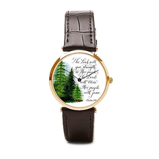 puppya muñeca reloj niños mano verso piel relojes bandas paisaje marrón/dorado: Amazon.es: Relojes