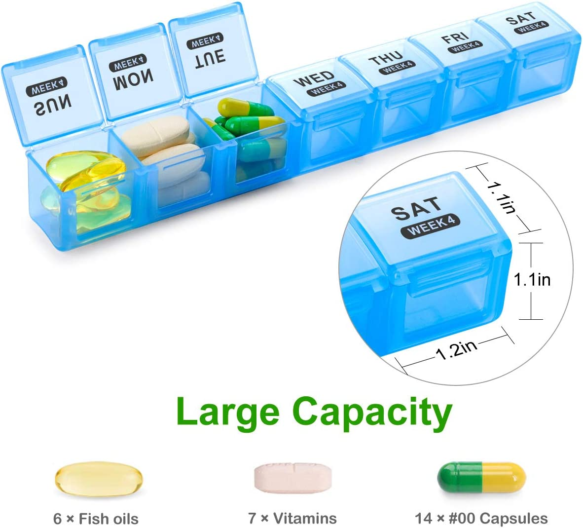 Monthly Pill Organizer 28 Day Case Organizerd by Week, Sukuos Moisture-Resistant Large 4 Week Month Pill Cases with Dust-Proof Box for Pills/Vitamin/Fish Oil/Supplements: Health & Personal Care