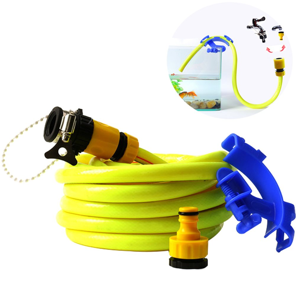 32.8 Feet Tube Hose No Spill Fill Aquarium Maintenance System with Tube Clip and Faucet Connectors