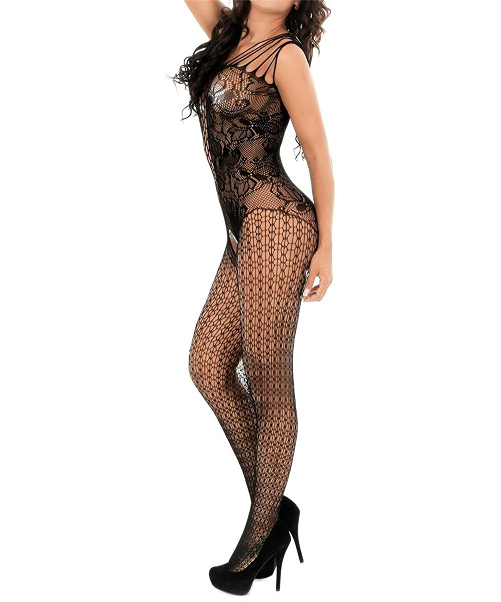 78c9494106 Amazon.com  Curbigals Crotchless Bodystocking Plus Size Open Crotch Teddy  Lingerie for Women  Clothing