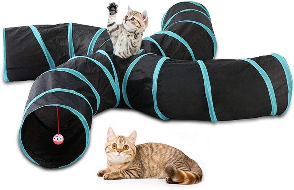 before now Túnel de Gato de 4 vías 丨 Juguete de Tubo de túnel de Arrugas Plegable para Interiores y Exteriores para Mascotas 丨 con Campana para Gatos, Cachorros, Gatitos, Conejos