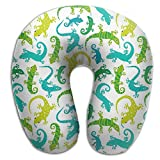 CRSJBB219 Cute Animals Cute Lizards Comfortable Travel Pillow,Neck Pillow,a Memory Foam Pillow That Provides Relief and Support for Travel,Home, Neck Pain