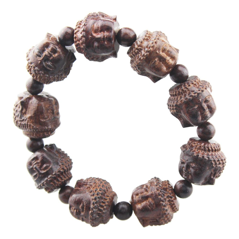FOY-MALL Red Sandalwood Carved Buddha Head Stretch Bracelet E1142