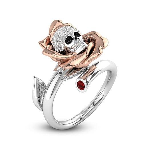 Amazon Com Yjydada Ring Creative Skull Heads Diamond Valentine