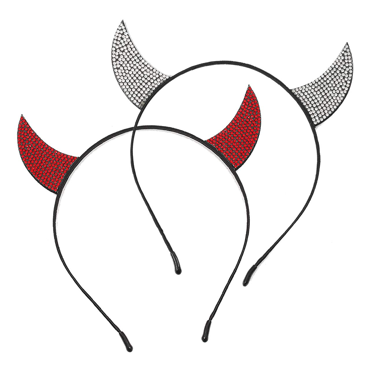 vogueknock Devil Horns Halloween Headband Faux Rhinestone Horn Costume Cat Ear Headband for Women Girls (Silver and Red Crystal (Set 2pcs)) by vogueknock