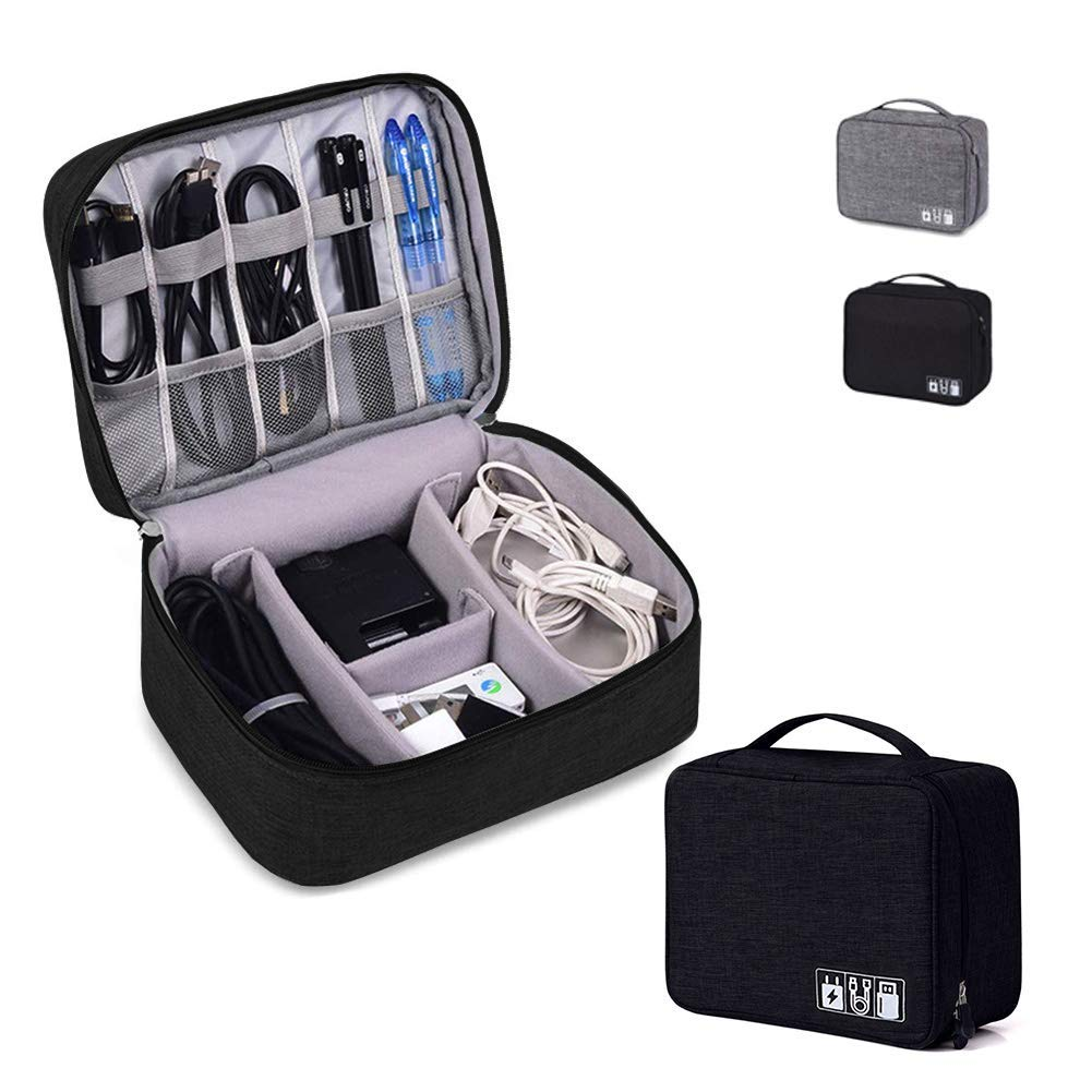 Cord Bag, BBX Lephsnt Waterproof Cord Organizer Bag with 3 Removable Dividers, Padded Gadget Carrying Case for Cables, Portable Chargers, Electronics Adapters