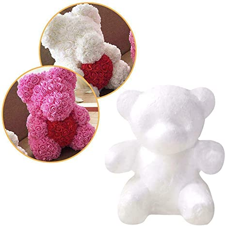 Foam Bear Mold,Modelling Foam Bear White Craft Balls for DIY Christmas Party Decoration Supplies Gifts Rose Bear Teddy Bear Artificial Rose Flower Bear Anniversary Valentines Gift 15cm