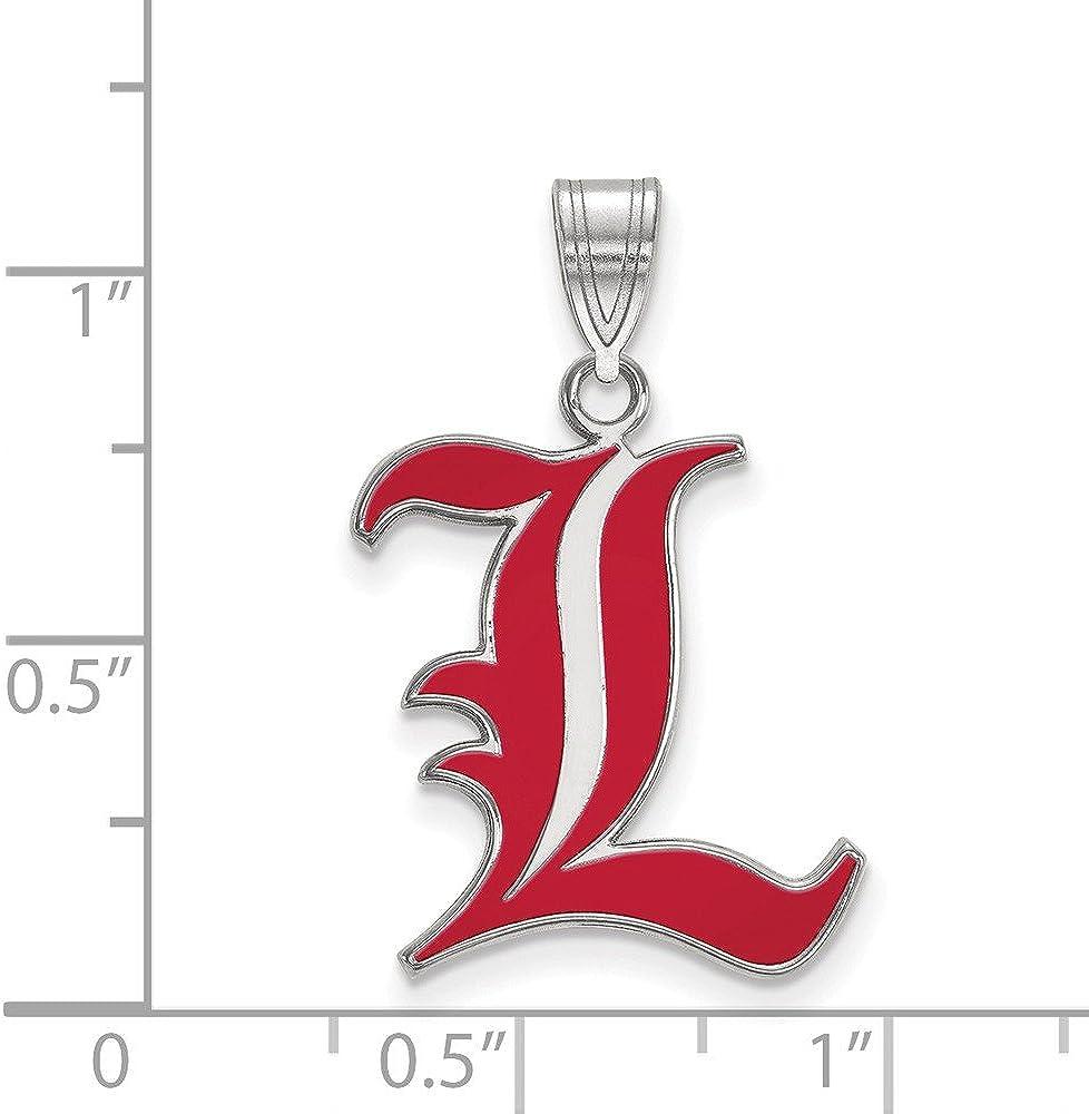 White Sterling Silver Charm Pendant Kentucky NCAA University Of Louisville 25 mm 17