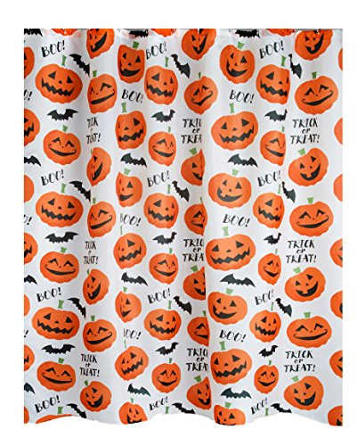 Avanti Linens Halloween Shower Curtain Tossed Pumpkins Flying