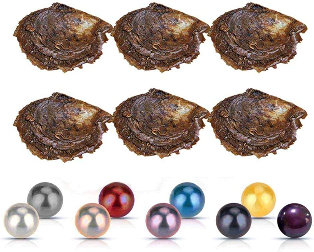NY Jewelry 6-8mm Akoya Mixed Colored Pearl Oyster for Pearl DIY Jewelry Making, Cultured Pearl Oyster in Individual Vacuum Packing, Pack of 10 Pcs(1 Pc Twins and 9 Pcs Single)