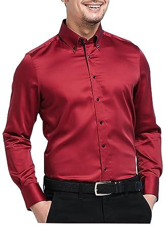 2fa086ccd XTAPAN Men's Long Sleeve Casual Slim Fit Mercerized Cotton Business Button  Down Dress Shirt Tag 39
