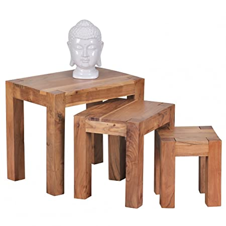 Home Collection24 Mumbai Solid Acacia Wood Nesting Table Set Of 3