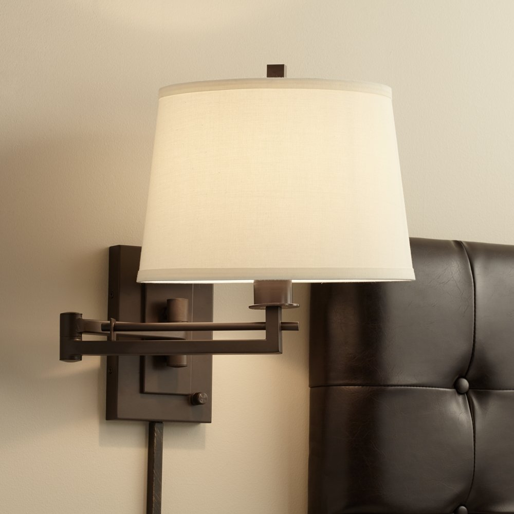 Easley Matte Bronze Plug In Swing Arm Wall Light   Wall Sconces   Amazon.com