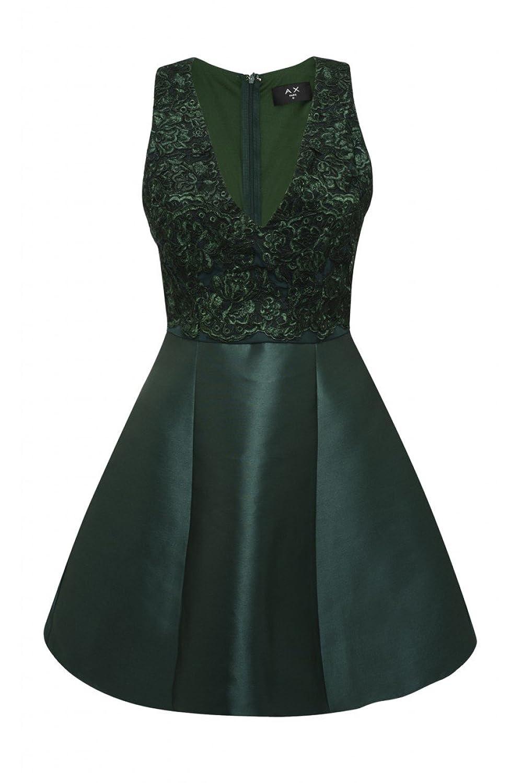 Ax Paris Womens Mini Style Skater Dress V Neck Sleeveless Green Party Ladies
