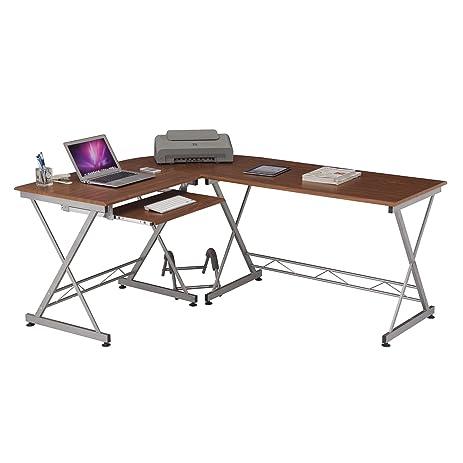 amazon.com: techni mobili modern l shape corner desk with pull out ... - Mobili Tv Amazon