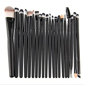 QJ 20 Pieces Slim Makeup Brushes kits Multi Functional Foundation Synthetic Kabuki Brushes Blending Blush Eyeliner Face Powder Make Up Brushes Powder Liquid Cream Cosmetics Blending Brush Tool (Black)