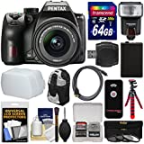 Pentax K-70 All Weather Wi-Fi Digital SLR Camera & 18-55mm AL WR Lens with 64GB Card + Backpack + Flash + Diffuser + Battery + Tripod + Filters Kit