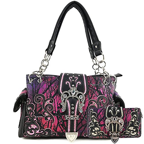 Justin West Camouflage Tree Branches Bling Rhinestone Cross Wings Buckle Crossbody Chain Messenger and Purse (Buckle Purple Handbag Wallet Set)