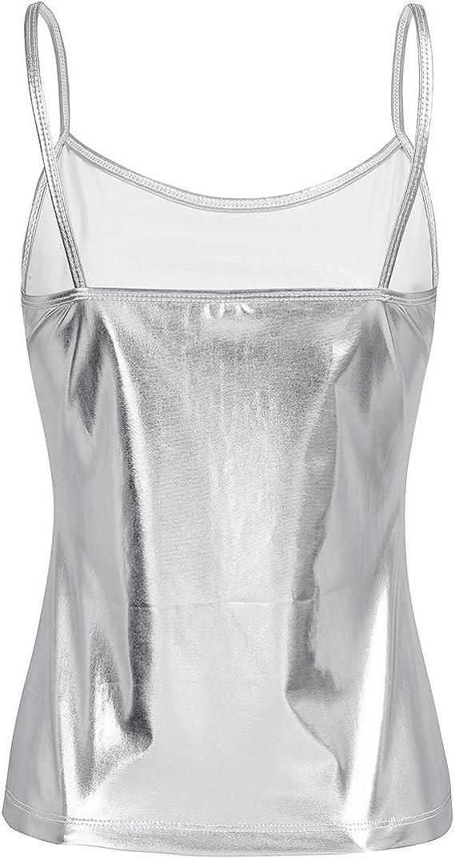 TiaoBug D/ébardeur Femme Top en Cuir Verni Brillant T-Shirt sans Manches Haut de Danse Jazz Bal Club Veste Gilet Soir/ée Clubwear S-XL
