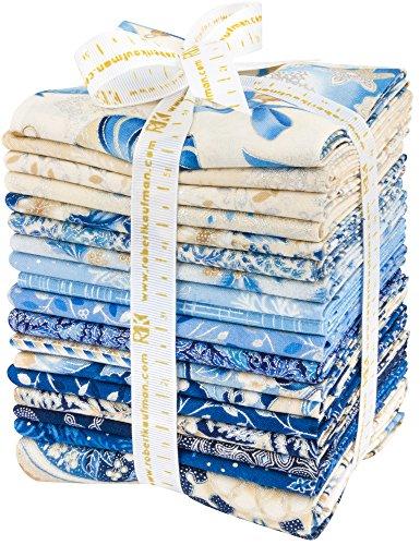 Blue Fq Quilting Fabric - Peggy Toole Holiday Flourish 10 Blue 17 Fat Quarters 1 Panel Robert Kaufman Fabrics FQ-1210-18